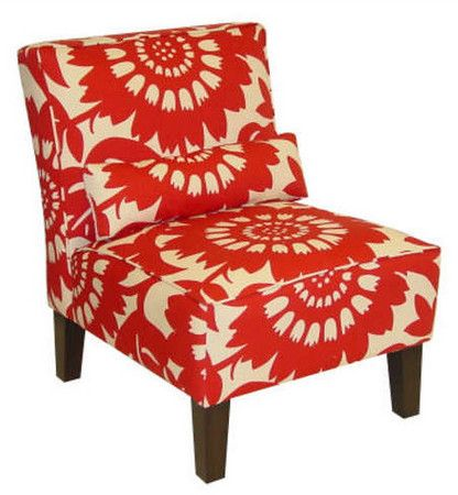 Red Pattern Uphol Chair