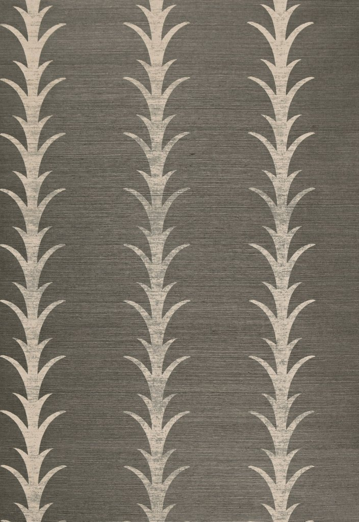 Acanthus Stripe Grasscloth Wallpaper by F.Schumacher