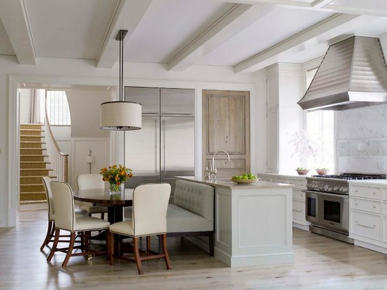 Transitional Kitchen with Chandelier