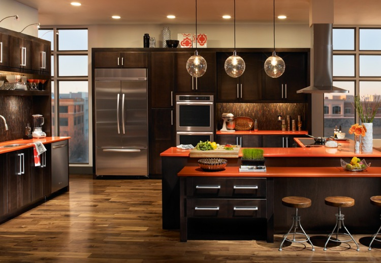 Transitional Kitchen with Contrasting Finishes by Trail Appliances