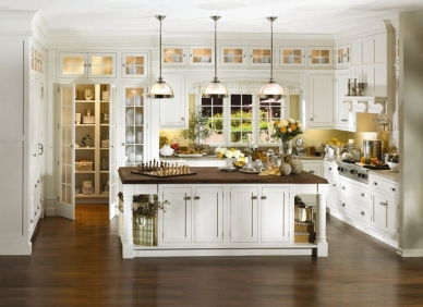 Traditional Custom Built-In Cabinetry with Contrast  Cabinets & Counter Tops