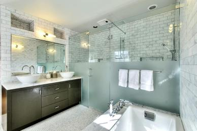 Luxury Master Bath with Marble Subway Tiles