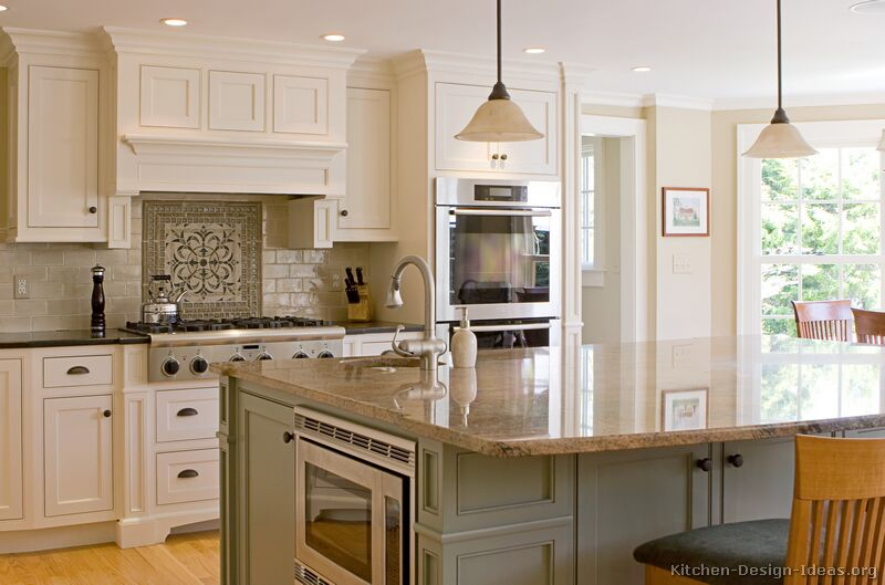 Traditional two tone cabinets large island by kitchen for 2 tone kitchen cabinet ideas