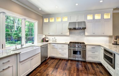Transitional Kitchen with Under Cabinet and Inside Cabinet Lighting by K&K Custom Cabinets, LLC