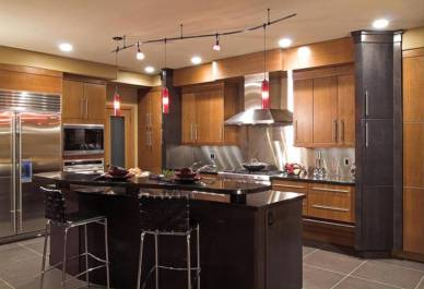 Transitional Style Kitchen with Rail Lighting, HGTV