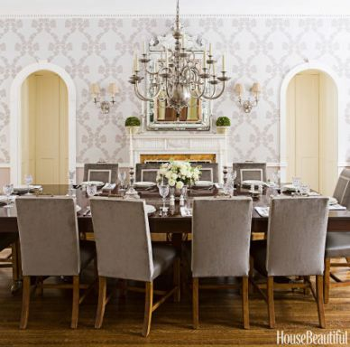 Dining Room, Cole & Son Wallpaper, House Beautiful
