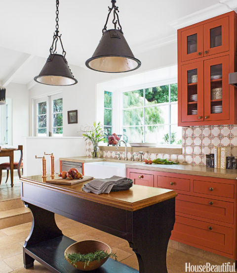 Burnt Orange Kitchen Designed by Melanie Coddington, Salsa Dancing by Benjamin Moore Paint