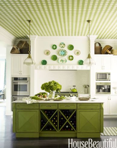 White Kitchen with Green Island, Gingham Ceiling, Designed by Gideon Mendelson