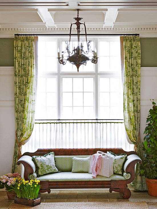Hampton Summer Home with Gingham Cushion on Mahogany Empire Settee by Jack Fhillips Design, Inc.