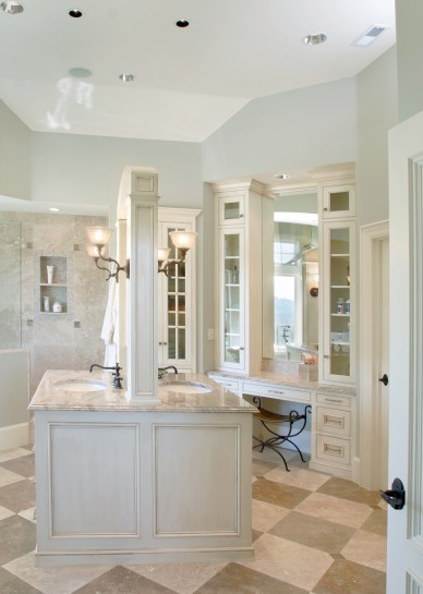 Transitional Bath with Alcove Cubbies, Checkerboard Ceramic Tile Flooring, BHG