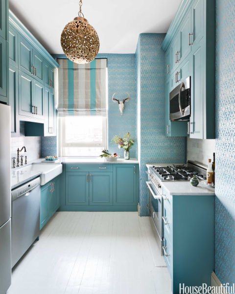 Small Elegant Kitchen with Silvery Blue Wallpaper by Sheila Bridges