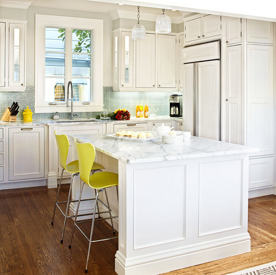 White Kitchen w/Marble Countertops, Blue Backsplash by Julie Massucco Kleiner