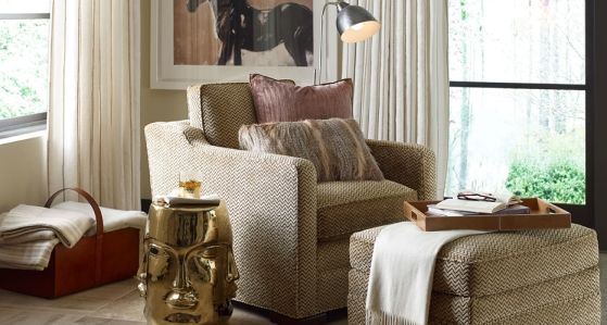 Reading Nook with Woven Pattern by Kravet
