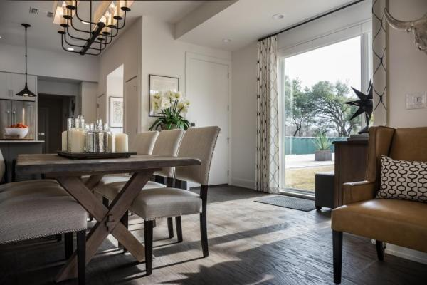 HGTV Smart Home 2015~Open Dining Room features Floor to Ceiling Windows
