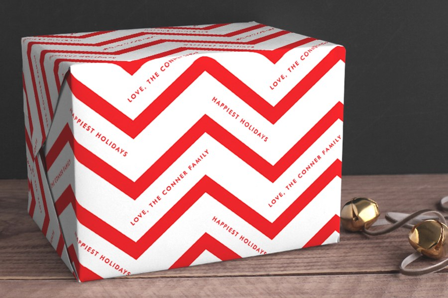 Chevron Personalized Gift Wrap from Minted, AD
