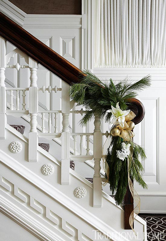 Elegant Holiday Stair Rail by Shelley Johnstone Design, Traditional Home