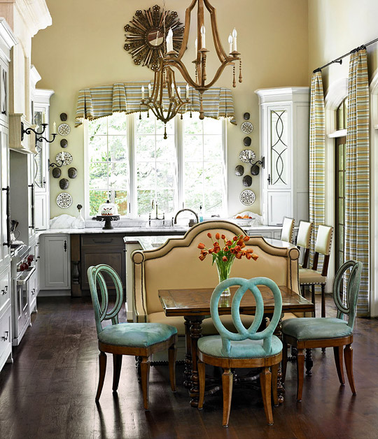 'Pleathers,' Easy Care Fabrics Used on Banquette/Island Chairs by Heather Dewberry & Will Huff
