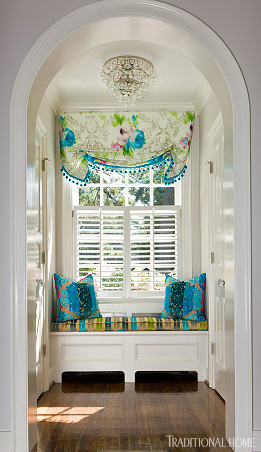 Colorful Alcove Window Seat with Turquoise Accents by katinteriors.com