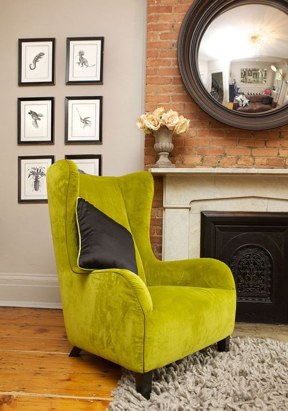 Lime Green Wing Chair by The New Design Project, New York City Townhouse