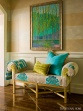 Bold Entry Showcases Jewel-toned Bench, Textiles, Art by Kat Liebschwager Interiors