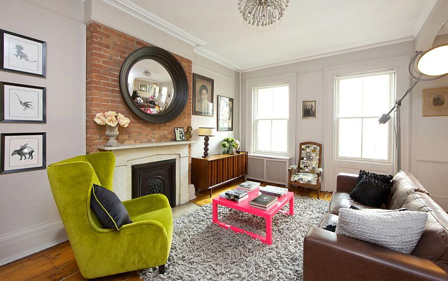 Bold Interiors 2 Lime Green Wingback Chair, New York City Townhouse By The  New Design Project