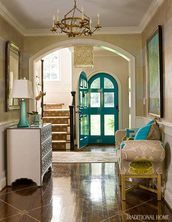 Bold Turquoise Front Door, Kat Liebschwager Interiors