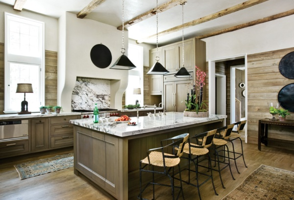 A 'Living Kitchen' with Natural Wood Walls by Beth Webb, Atlanta Homes Mag