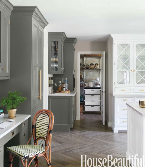 Gray Kitchen Cabinets, Benjamin Moore Natura in Silhouette by Caitlin Wilson