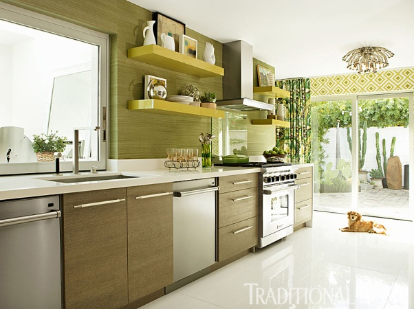 Transitional Kitchen, Avocado Cabinets with Floating Shelves, Christopher Kennedy