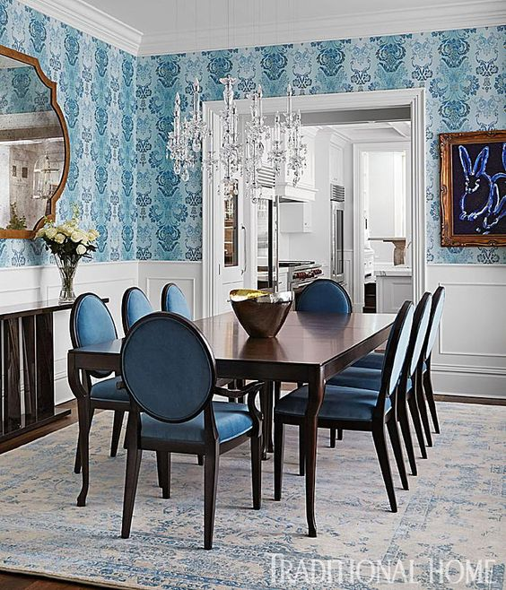 Dining Room with Patterned Wallpaper, Traditional Home
