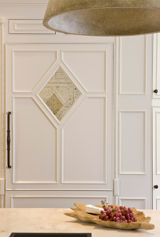 Custom Detailed Refrigerator Door with Antique Mirror, Suellen Gregory