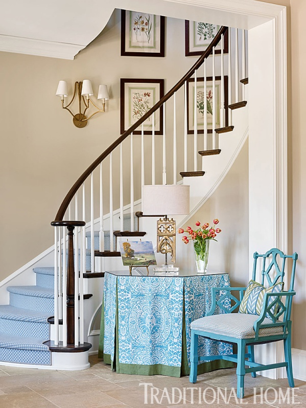Cheerful Foyer with Curving Stairway, Starks 'Embroidery' in Sky Blue, Vintage Chair by Alcott Interiors