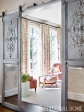 Home Office with French Antiqued Barn Style Sliding Doors, Alcott Interiors