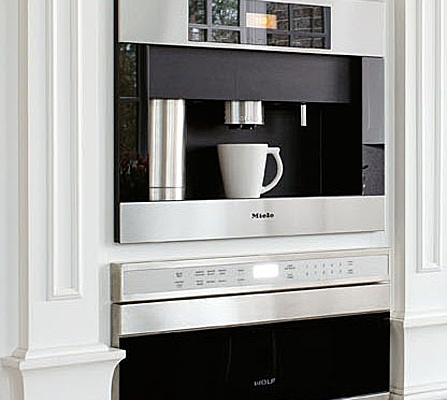 Sleek Built-Ins, Coffee and Espresso Maker by Miele, Microwave by Wolf, Buckingham Interiors + Design