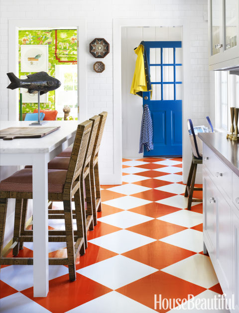 Kitchen with Checkerboard Floor, White Cabinets, Gary McBournie