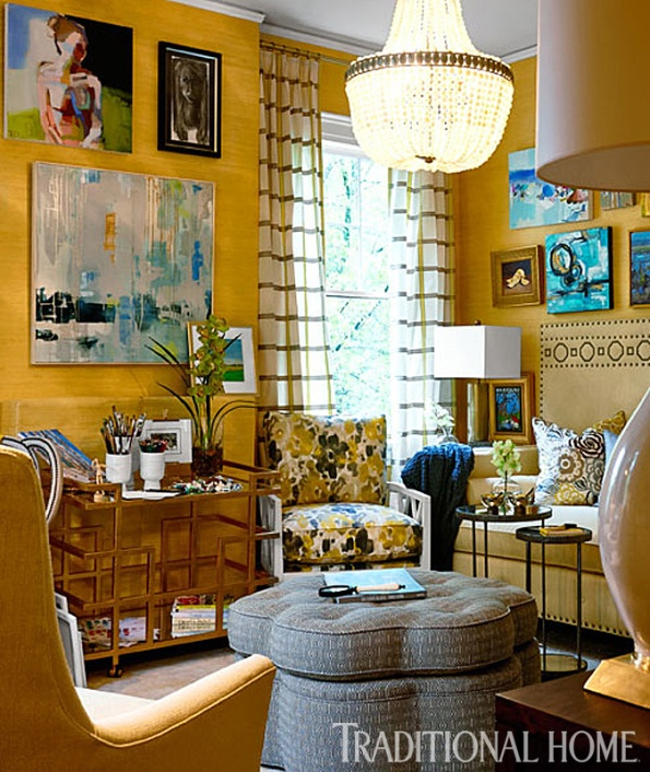Artist Retreat with Yellow Grass Cloth Wallpaper, Beaded Chandelier by Currey & Company, L. Moore Designs