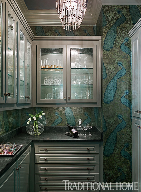 Butler's Pantry with Exotic Lee Jofa Peacock Wallpaper, Chrystal Chandelier by Circa, Stuart Pliner Design