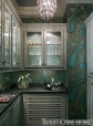 Butler's Pantry with Exotic Lee Jofa Peacock  Wallpaper, Chrystal Chandelier by Circa, Stuart Pliner Design