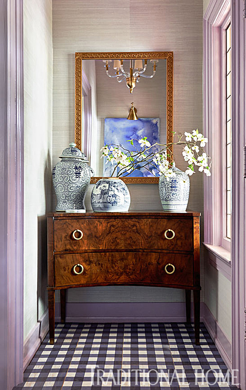 Small Foyer, Lavender Grass Cloth, Navy Gingham Floor Tiles, Traci Zeller Designs