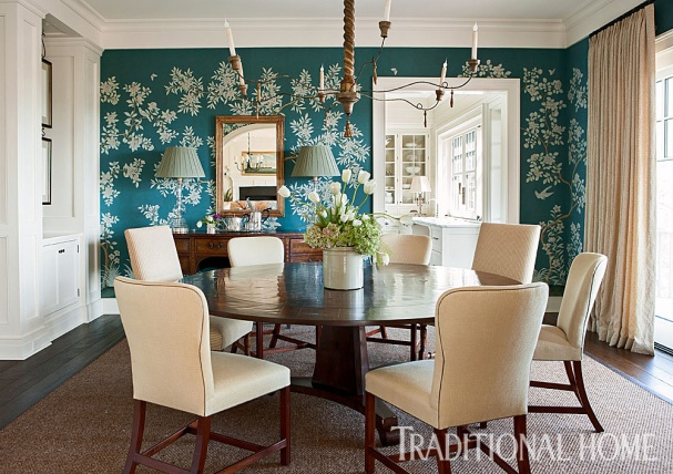 Dining Room with Gracie Wallpaper & Grass Rug Bound in Leather