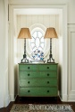 Distressed Green Chest Welcomes Family & Friends in the Foyer