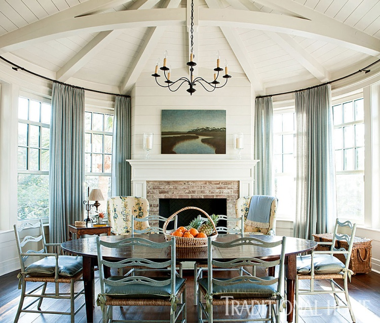 Sun Room, Keeping Room with Circular Adorned Beam Ceiling