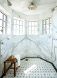 Master Bath Octagonal Shower with Calacatta Gold Marble Walls, Custom Mosaic Tile Floor