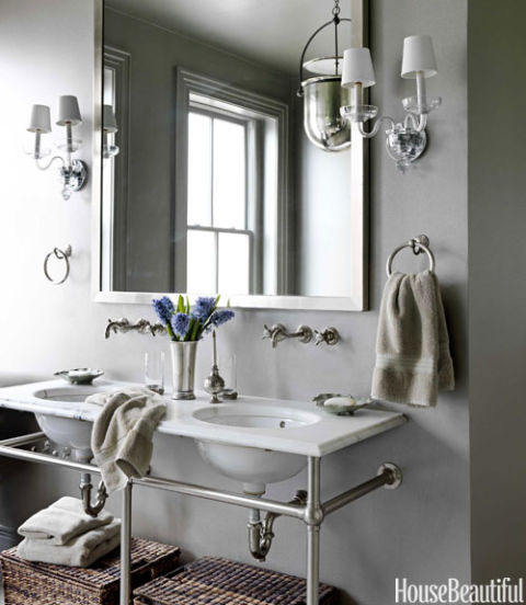 Gray Bathroom with Washstand by Waterworks, Barry Dixon