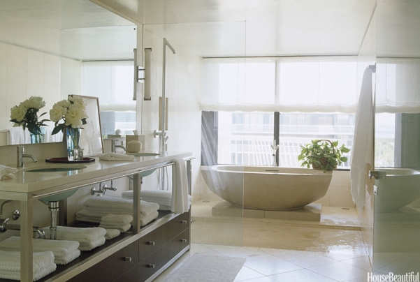 Transitional Bathroom with Cast Concrete Tub by Clodagh, Vincente Wolf