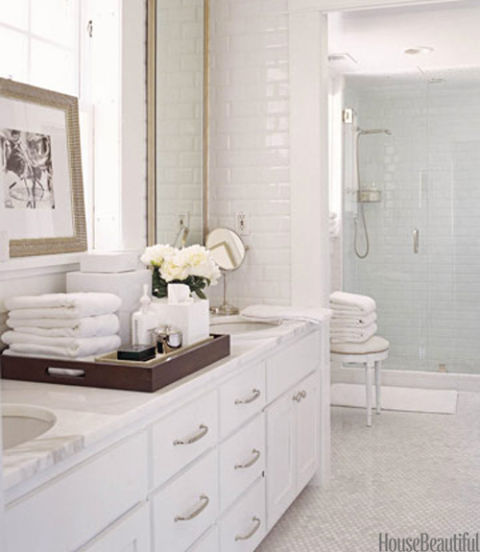Spa-Like Bathroom with Calacatta Gold Marble Tile, David Jimenez