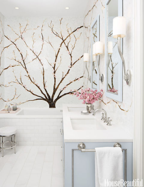 Elegant Mural Embraces Undermounted Sinks, Polished Chrome Faucets, Caroline Beaupere