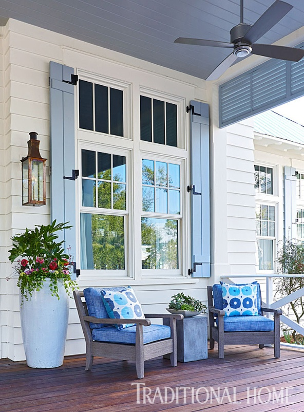 Welcoming Front Porch with Blue Shutters, Mary McWilliams, Designer, Tim Adams, Architect