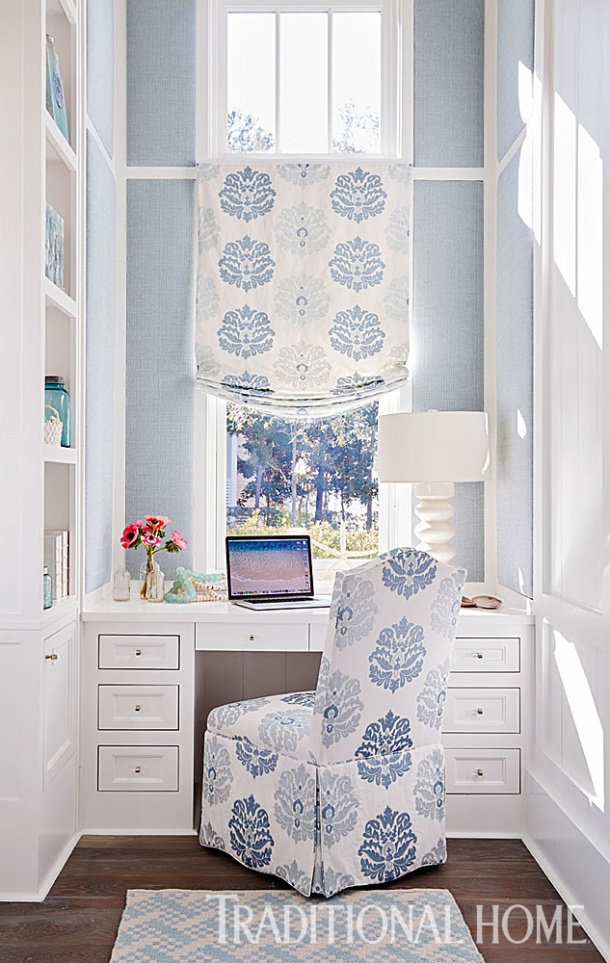 Home Office with Upholstered Walls, Mary McWilliams