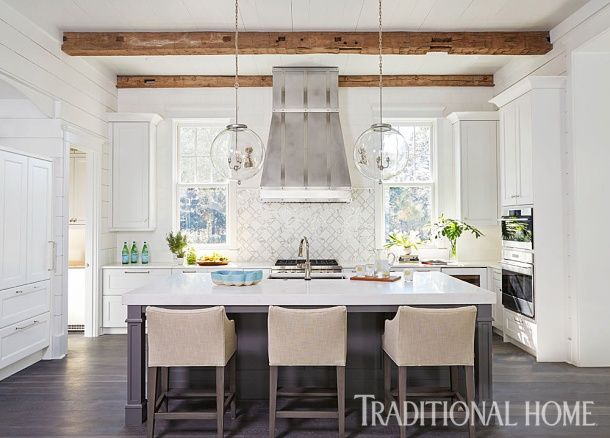 Kitchen with Thassos Marble Tile on Range Wall Embraces Social Activity, Mary McWilliams